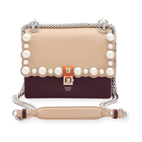 Fendi Kan I Small Pearly-Studded Leather Shoulder Bag in beige - Fendi  leather shoulder 7ec1b84f76640