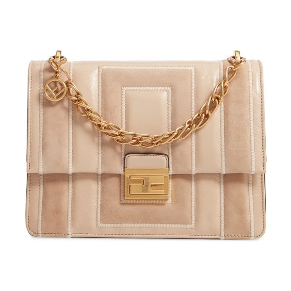 Fendi kan u goatskin suede & lambskin leather shoulder bag in pink
