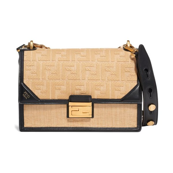 Fendi kan u raffia shoulder bag in brown