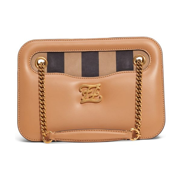 Fendi karligraphy king leather shoulder bag in beige