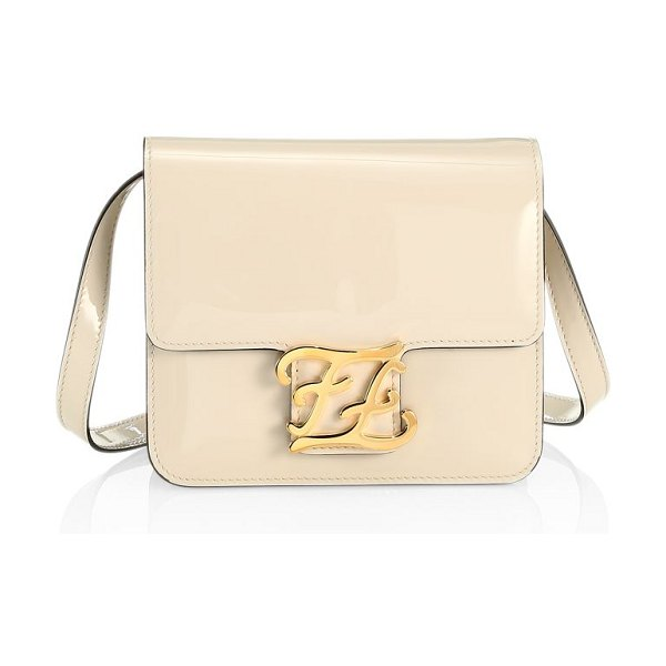 Fendi karligraphy patent leather crossbody bag in milk soft gold