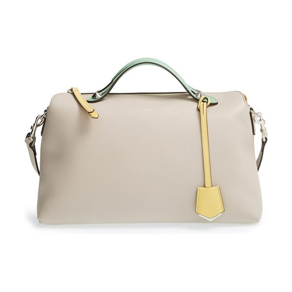 Fendi Large by the way leather shoulder bag in powder/ multi color - Subtle color blocking underscores the effortless...