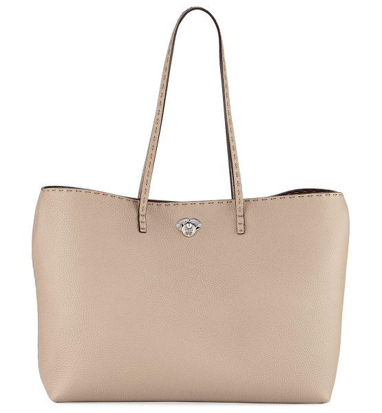 Fendi Large East-West Turn-Lock Tote Bag in toffee - Fendi grained calf leather tote with pickstitch trim....