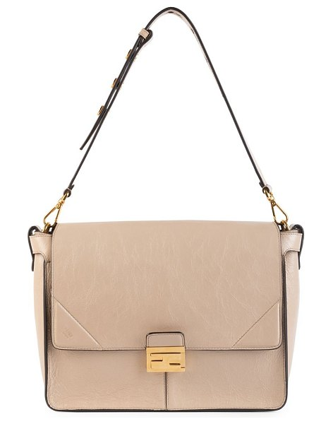 Fendi large kan u leather shoulder bag in taupe