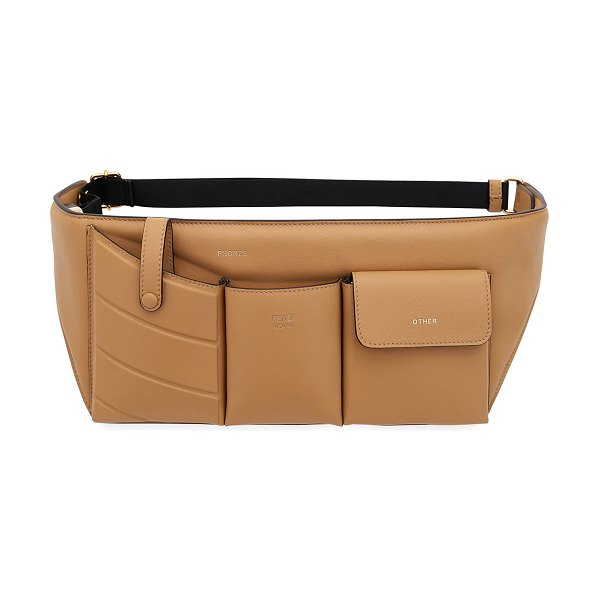Fendi Leather Pouch Belt Bag in light brown