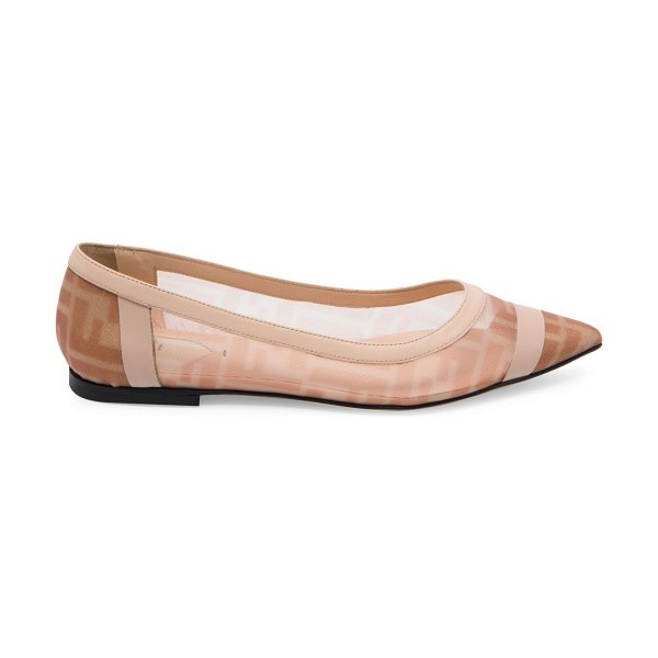 Fendi leather-trimmed mesh flats in rose