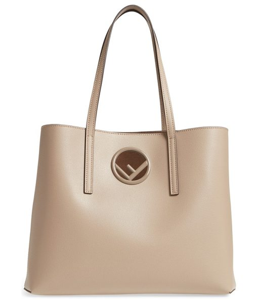 FENDI logo leather shopper in taupe - The new Fendi logo adds to the sleek, polished look of a...