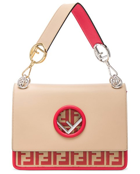 "FENDI Logo Print Bicolor Kan I Logo in red,neutrals - ""Calfskin leather with suede lining and mixed hardware. ..."