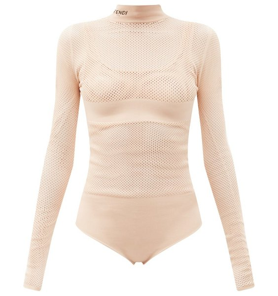 Fendi long-sleeve jersey-mesh bodysuit and bra set in light pink