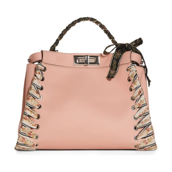 Fendi medium peekaboo whipstitched leather satchel in baby pink