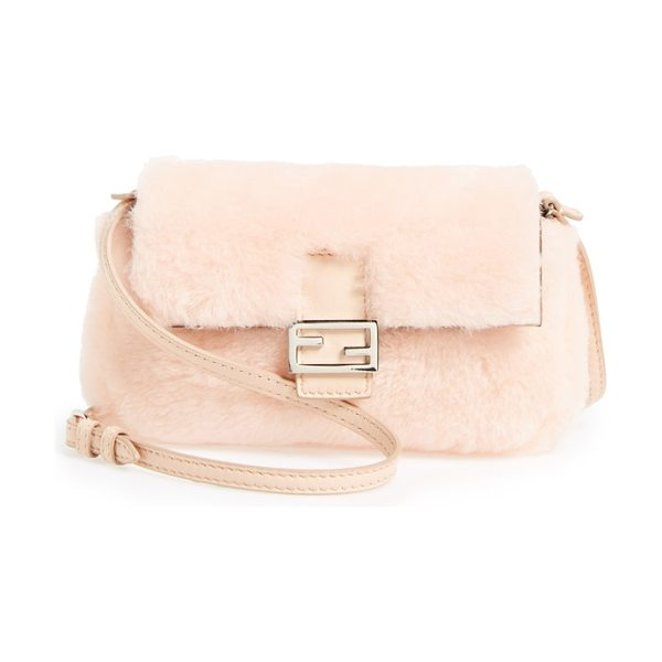 Fendi Micro genuine shearling & lambskin leather baguette in light rose - Fendi's angular logo hardware and optional chain-link...