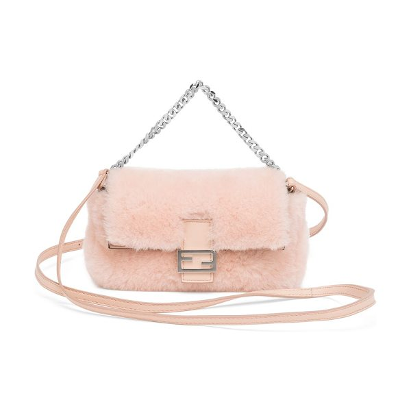 FENDI Micro sheepskin crossbody baguette in lightrose - A petite pouch version of the timeless Fendi favorite,...