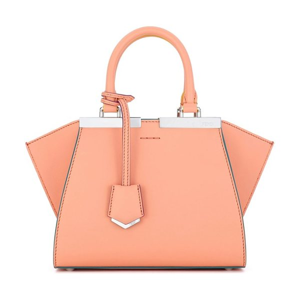 Fendi 'mini 3jours' calfskin leather shopper in apricot/ palladio