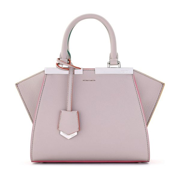 FENDI 'mini 3jours' calfskin leather shopper in grey powder - Hand-painted color-pop edges and meticulous stitching...