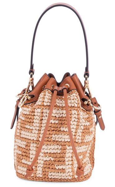 Fendi mini mon tresor ff raffia bucket bag in brick natural