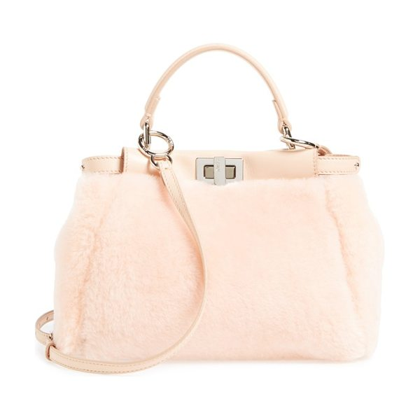 FENDI Mini peekaboo genuine shearling & nappa leather bag - Fresh for fall in soft, genuine shearling trimmed with...