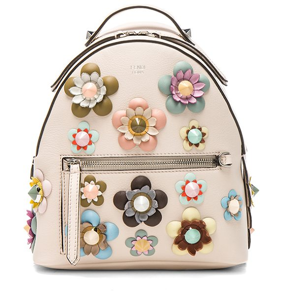 Fendi Mini Zaino Backpack in neutrals,floral - Calfskin leather with signature jacquard fabric lining...