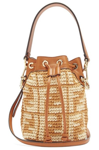 Fendi mon tresor mini ff-logo raffia bucket bag in tan