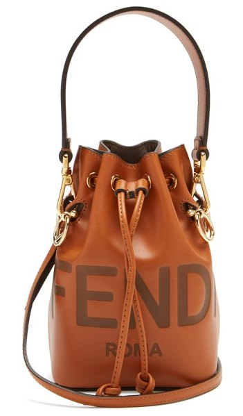 Fendi mon tresor mini leather bucket bag in tan