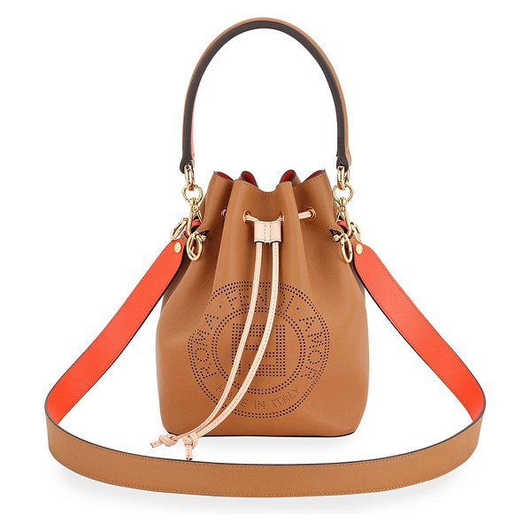 Fendi Mon Tresor Perforated Bucket Bag in camel
