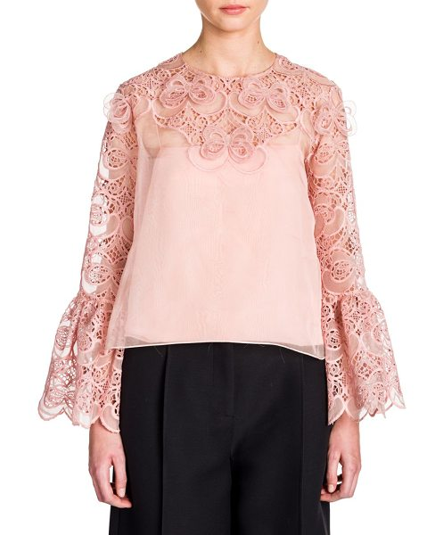 Fendi organza lace bell-sleeve blouse in blush pink - Romantic bell sleeve blouse with intricate broderie...