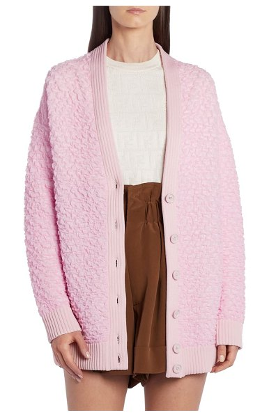 Fendi oversize textured cardigan in pink