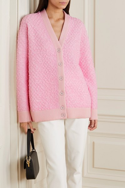 Fendi oversized metallic cloqué cardigan in pink