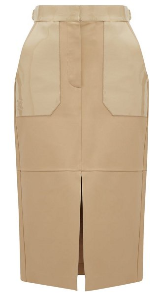 Fendi panelled leather midi skirt in beige