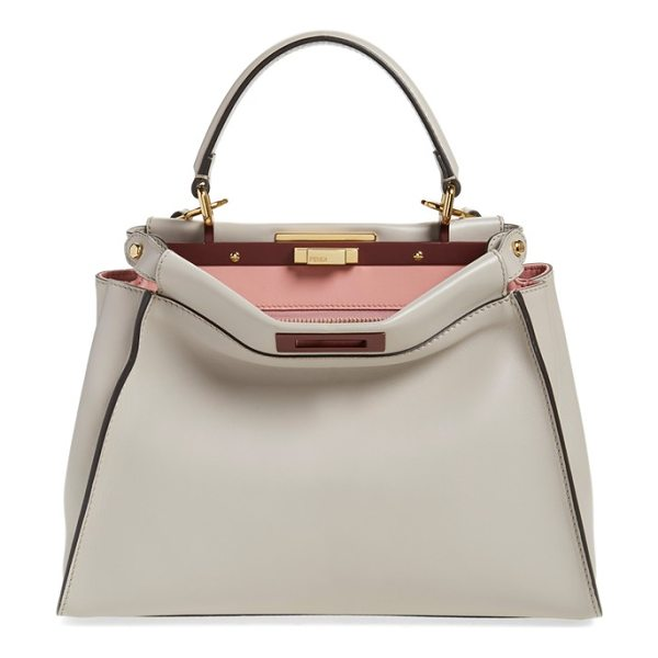 Fendi 'peek-a-boo' medium crossbody bag in grey powder/rose - A pristinely stitched, immaculate calfskin satchel opens...