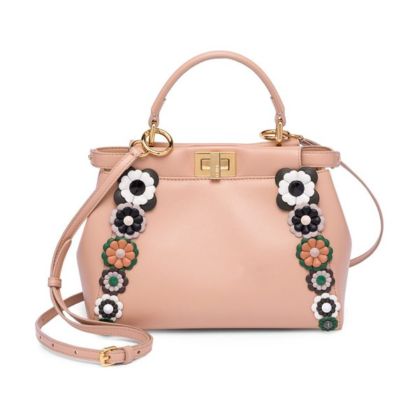 Fendi mini peekaboo floral-embellished leather handbag in pink - Whimsical floral appliques frame soft leather handbag....