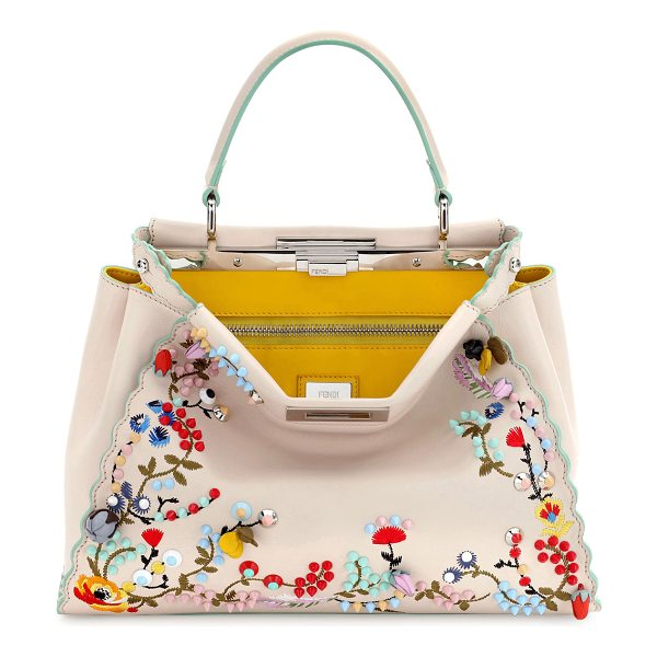 FENDI Peekaboo Large Floral-Embroidered Satchel Bag in tan - Fendi floral-embroidered calfskin satchel bag with...