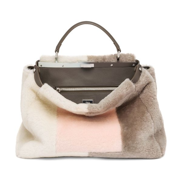 Fendi peekaboo large marquetry sheep fur satchel in light rose-multi - In a geometric motif inspired by marquetry, this Fendi...