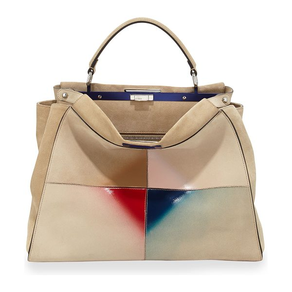 FENDI Peekaboo large satchel bag - Fendi suede and gradient patent leather patchwork...