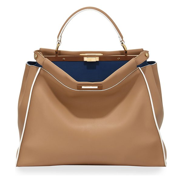 Fendi Peekaboo Large Satchel Bag in beige/cobalt - Fendi patchwork calfskin satchel bag with golden...