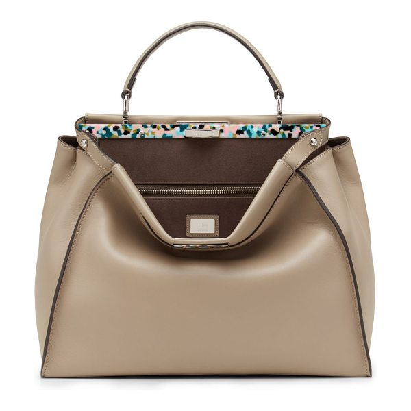 Fendi peekaboo large tortoise-accented satchel in dove - Soft, buttery leather is crafted into Fendi's signature...
