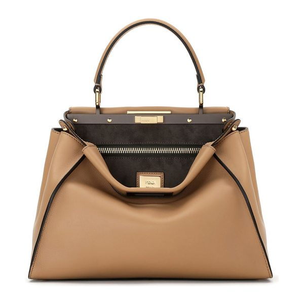 FENDI peekaboo medium leather satchel - Soft, buttery leather is crafted into Fendi's signature...