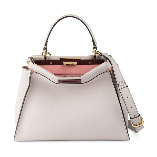 Fendi peekaboo medium leather satchel in grey powder - Soft, buttery leather is crafted into Fendi's signature...