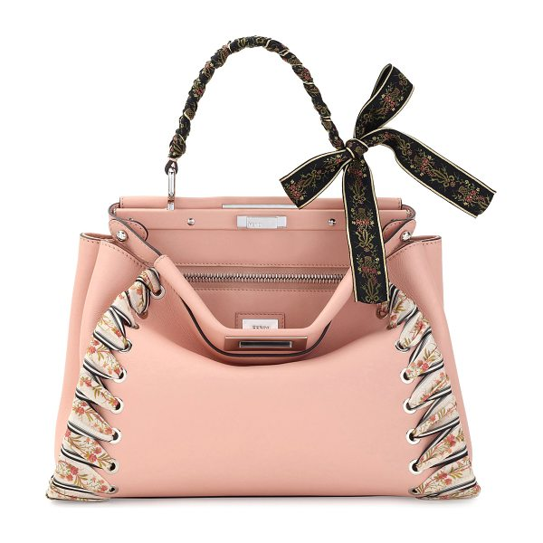 FENDI Peekaboo Medium Ribbon Whipstitch Satchel Bag - Fendi calfskin satchel bag with embroidered ribbon...