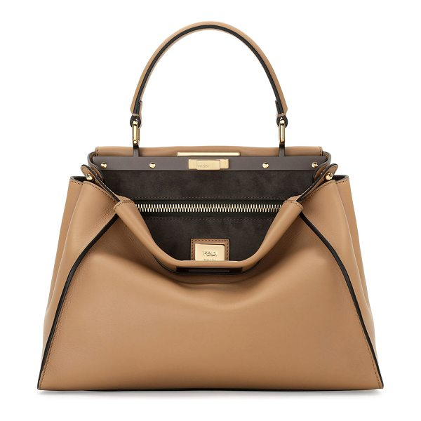 Fendi Peekaboo Medium Satchel Bag in brown - Fendi Peekaboo satchel bag in shiny painted napa leather...