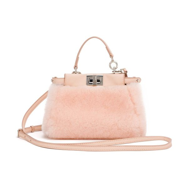 Fendi peekaboo micro shearling satchel in lightrose - A petite, charm-sized version of the coveted Fendi...
