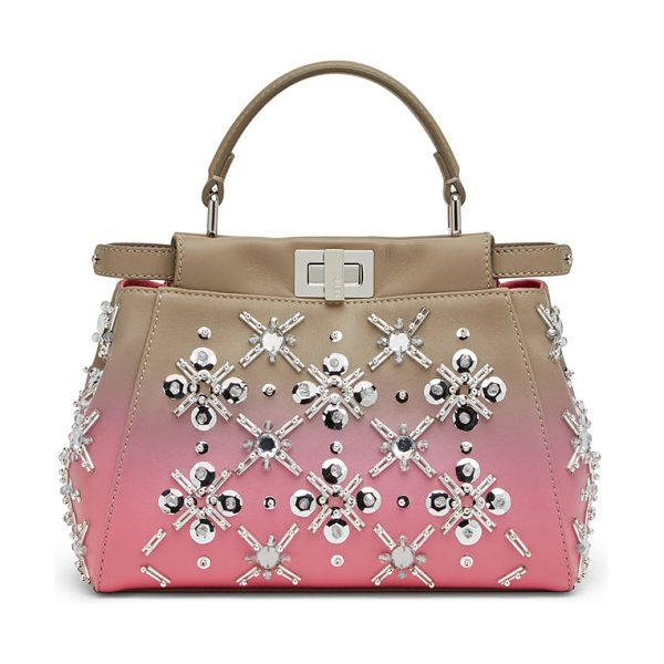 Fendi Peekaboo Mini Crystal Satchel Bag in gray/pink - Fendi mini bag in ombr lamb leather with snowflake...