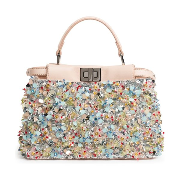 Fendi Peekaboo mini embellished leather satchel in blush-multi - Perfectly petite satchel with colorful beads and...