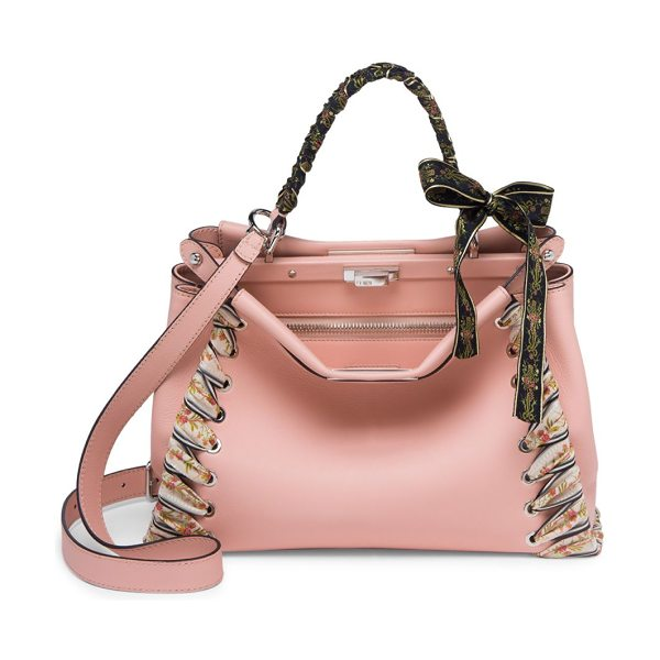 FENDI peekaboo ribbon-laced leather satchel - Iconic leather satchel with laced trim and handle. Top...