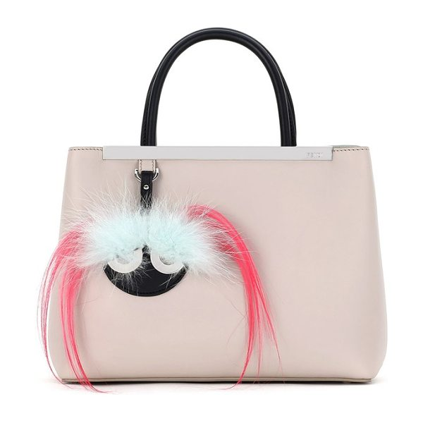 FENDI 'petite 2jours' bicolor leather shopper with genuine fox & kidassia fur monster charm in grey powder/ black/ azalea - Fendi's signature luggage tag is transformed into a...