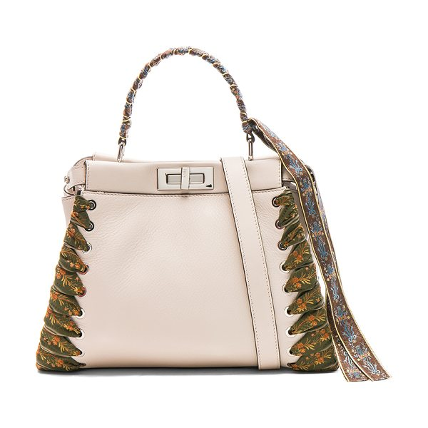"""Fendi Ribbon Embellished Regular Peekaboo in neutrals,floral - """"Calfskin leather with leather lining and silver-tone..."""