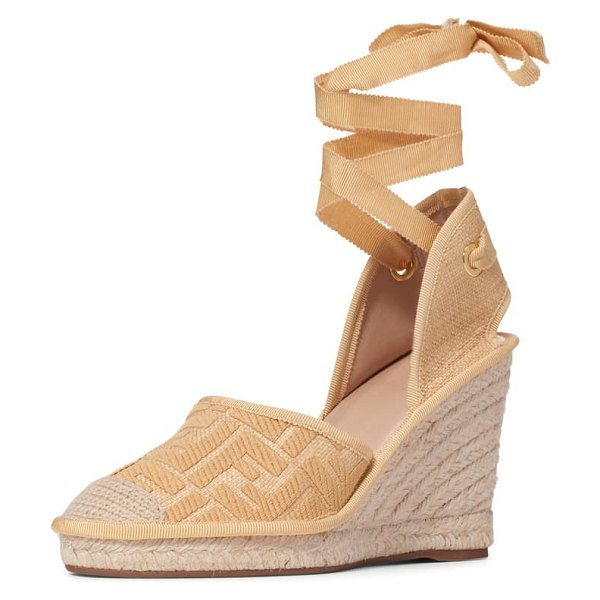 Fendi roam ankle strap wedge sandal in beige