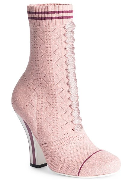 Fendi rockoko knit lace-up sock booties in rose - Knit sock-inspired lace-up boot poised on striped heel....