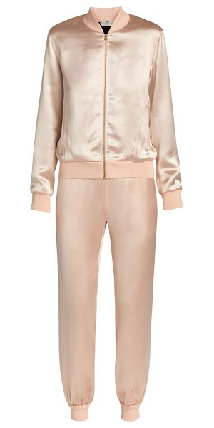 Fendi roma satin 2-piece track suit in snake pink