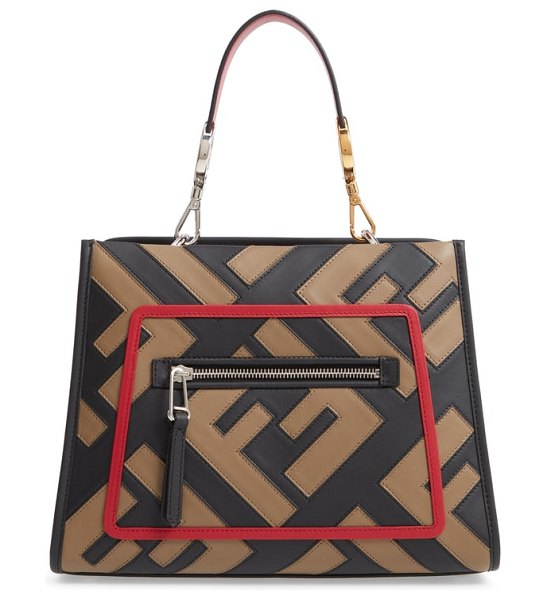 Fendi runaway century mix calfskin leather satchel in nero/ taupe/ fragola - Supple calfskin leather detailed with the double-F logo...