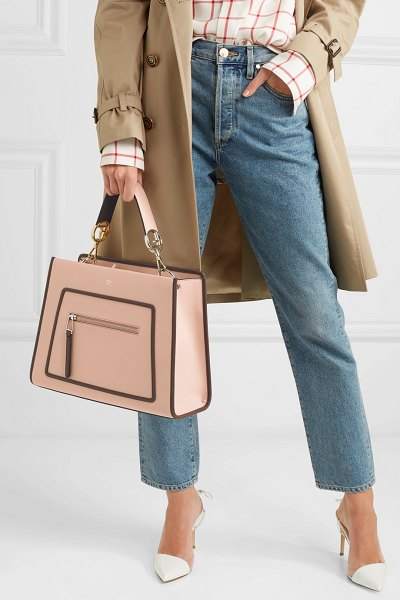 Fendi runaway large leather tote in neutral - Fendi's 'Runaway' tote is perfect for busy days around...